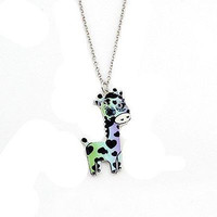 Basket Hill Girls Silver Tone Blue Giraffe Necklaces