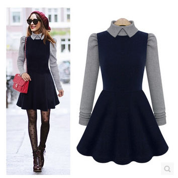 New women's fashion street wear stylish peter pan collar full circle swing dress 1950's retro long sleeve pin up dress casual style = 1932078532
