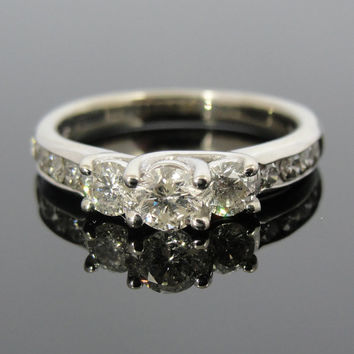 Vintage Three Stone DIamond Ring with Channel Set Shoulders RGDI283D