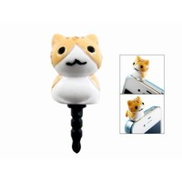 3D Brown Cat 3.5mm Earphone Jack Dustproof Plug Ear Dust Cap for iPhone 4 4G 4S