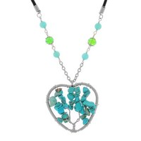 MJartoria Turquoise Chips Beaded Heart Tree of Life Charm Healing For Reiki Rhinestone Leather Necklace