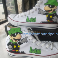 Custom Converse Chucks Mario Brothers Luigi Inspired