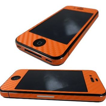 TCD for Apple iPhone 4 4S [ORANGE] Carbon Fiber Vinyl Skin LIFETIME WARRANTY Wrap Decal FULL BODY and Side Sticker Set - Adhesive - NO sticky residue Compatible with Verizon, AT&T, T Mobile