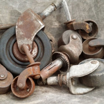 Set of 8 Random Vintage Rusty Metal and Wood Industrial Furniture Leg Casters Wheels Restoration Project Decor Altered Art Supply (3)
