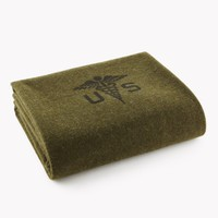 Foot Soldier Military Wool Blanket - Army Medic Green