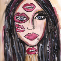 Margiela Lips Watercolor Painting