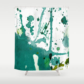 emerald green splash Shower Curtain by agnes Trachet