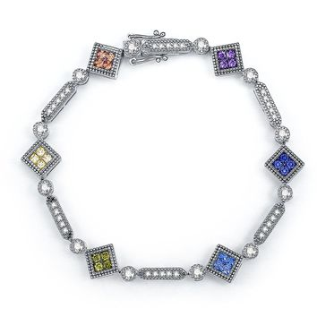 Merthus Princess cut Multi-color Gemstone Tennis Bracelet for Women