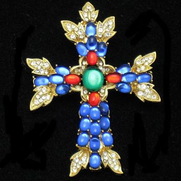 TRIFARI Moghul Glass Rhinestone Cross Brooch and Pendant Faux Emerald Sapphire Ruby