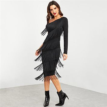 Black Party Going Out One Shoulder Layered Fringe Embellished Dress Long Sleeve Fashion Women Dresses