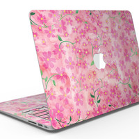 Flowers with Stems over Pink Watercolor - MacBook Air Skin Kit