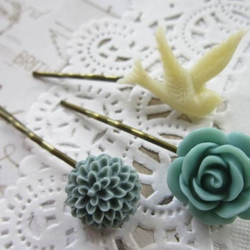 Vintage Cameo Hair Pins - Blues Flower and Bird Cabochon Bobby Pins