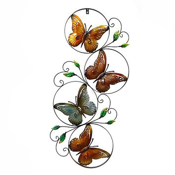 Retro Butterfly Metal Art Mural Style Living Room Wall Decoration