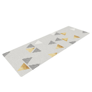 "Nick Atkinson ""Triangle Love"" Gray Gold Yoga Mat"