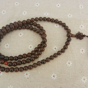 "108pc 8mm  Dark Red  Lotus Seed Bodhi W/ ""Moon Hole "" Prayer Beads Japa Malas"
