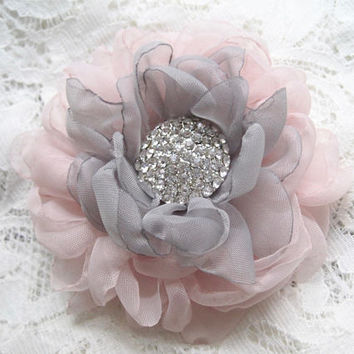 Romantic Blush Pink with Grey Chiffon Hair Clip Bridal Bride Bridesmaid Mother of the Bride with Rhinestone Accent Hair Accessories Bridal