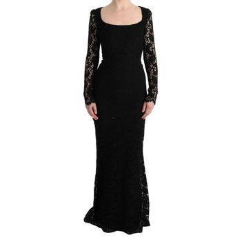 Dolce & Gabbana Black Floral Lace Sheath Long Dress