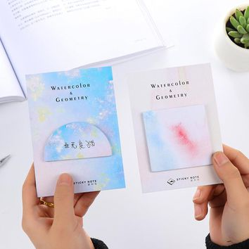 cute water color Geometric semi-circle square Triangle memo pad sticky note kawaii post it sticker school supplies stationery