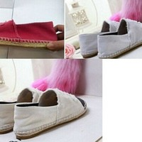 ICIKW WOMEN DENIM CANVAS SHOES ESPADRILLES FLAT CASUAL SHOES