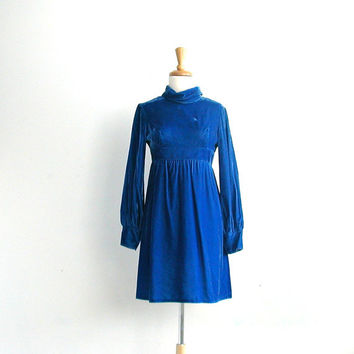 1960s Party Dress / 60s dress / blue velvet dress / emma domb / mod wedding dress / cocktail dress / babydoll / small