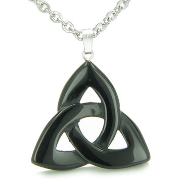 Celtic Triquetra Knot Magic Amulet Black Agate Spiritual Powers Pendant 22 Inch Necklace