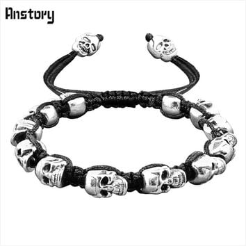 Vintage Smile Skull Bead Bracelet Boho Skeleton Bangle Antique Silver Plated Handmade Rope Woven Fashion Jewelry B404