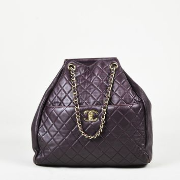 Chanel Dark Purple Quilted Lambskin Leather Gold Tone Bucket Bag