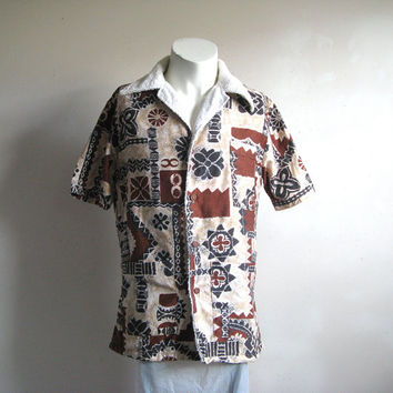 Vintage 1970s Beach Top Cocoa Brown Tiki Cotton Terry Lined Boat Jacket Medium