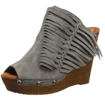 DCCKAB3 Sbicca Pitch Grey Fringe Wedge Sandals