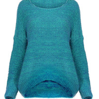 Blue Knitted Fluffy Jumper