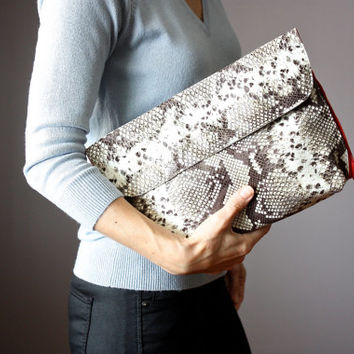 Python clutch, embossed leather clutch, fold over clutch purse, Snakeskin Clutch,  two zip pockets, red interior