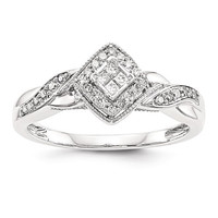 14k White Gold Multi-Stone Princessa Diamond Engagement Ring