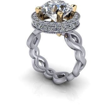 Semi-Mount Unique Diamond Halo Engagement Ring  - Moissanite Engagement Ring - Two Tone Engagement Ring