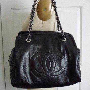 Chanel Black Jumbo Tote Shoulder Handbag Bag