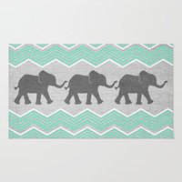 Three Elephants - Teal and White Chevron on Grey Rug by Tangerine-Tane