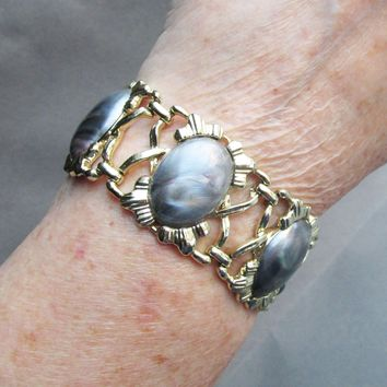 Vintage 1954 Signed CORO Pegasus Wide Swirled Lucite Bracelet