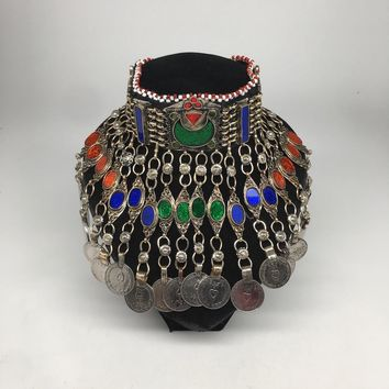 Antique Afghan Kuchi Choker Tribal Multi-Color Glass Jingle Coins Necklace,Ck161