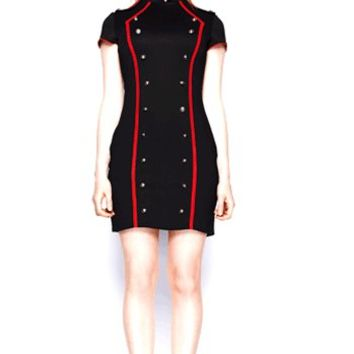 Military Marlene Dress In Black/Red | Thirteen Vintage