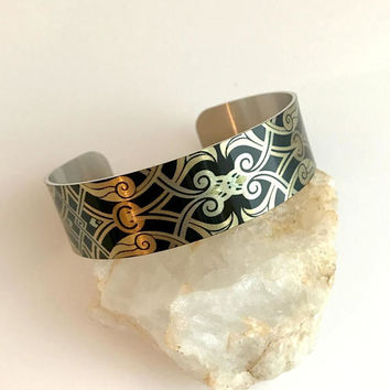Black Gold Cuff Bracelet, wide aluminum adjustable boho bohemian silver bangle stacking printed modern birthday gift gifts for her