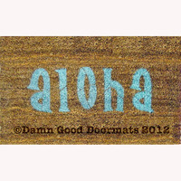 aloha tiki doormat - Hawaiian Hello / Goodbye
