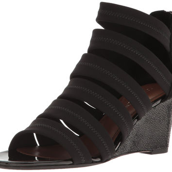 Donald J Pliner Women's Jones-Dks Wedge Sandal Black Crepe 9.5 B(M) US '