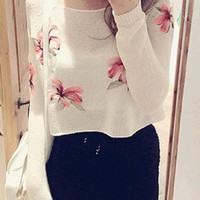 White Floral Long Sleeve Cropped Sweater