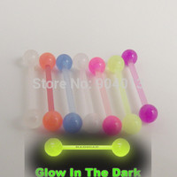 Free Shipping 5pcs/lot flexible mixed color  tongue barbell ring tongue 1.6x16x5mm glow in the dark body piercing jewelry