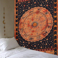 Mandala tapestry Hippie wall hanging Elephant Bedroom zodiac Twin Size