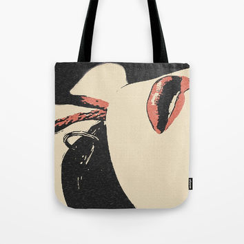Pain, pleasure and desire, bdsm, bondage, red lips, collared and tied girl Tote Bag by Casemiro Arts - Peter Reiss