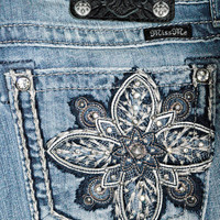 MISS ME STAR FLOWER BOOTCUT JEANS