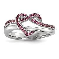 Sterling Silver & CZ Brilliant Embers Pink Heart Knot Ring