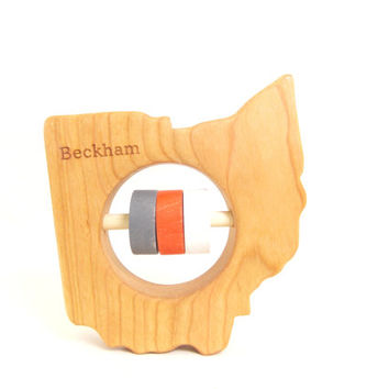 Ohio State Baby Rattle - Modern Wooden Baby Toy - Organic and Natural