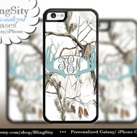 Blue Antlers Monogram iPhone 5C 6 Plus Case Browning iPhone 5s iPhone 4 case Ipod White Camo Deer Personalized Country Inspired Girl