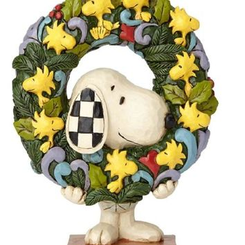 Jim Shore Peanuts Snoopy w/ Woodstock Wreath-6000984
